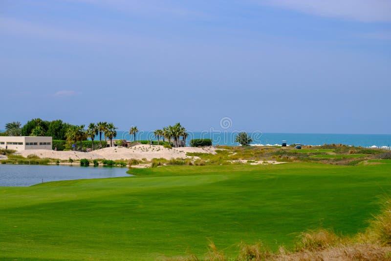 26 de febrero de 2018: Fechas/palmera en el campo de golf de la isla de Saadiyat, fotografía de archivo