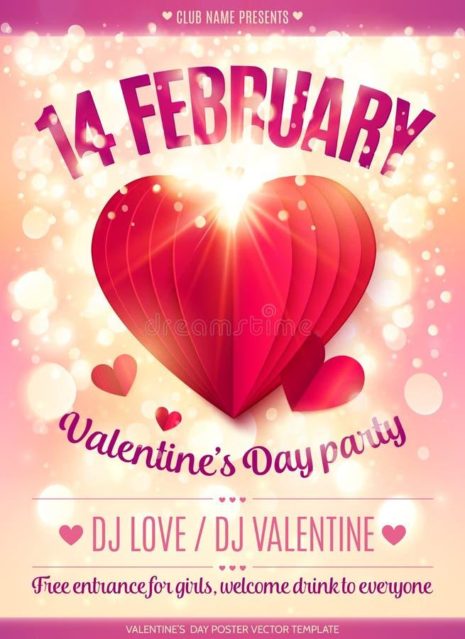 14 de febrero la muestra y el rojo doblaron el corazón de papel en el fondo ligero brillante del efecto rosado del bokeh, cartel  libre illustration