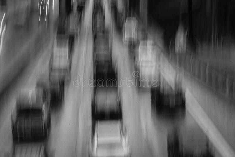 2 DE FEBRERO DE 2019 - LOS ANGELES, CA, los E.E.U.U. - extracto y congesti?n de tr?fico impresionista en una tormenta de la lluvi fotografía de archivo libre de regalías