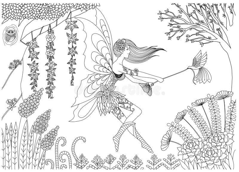 De fee speelt met vogel in het bosontwerp voor het kleuren van boek voor volwassen voorraad vector illustratie