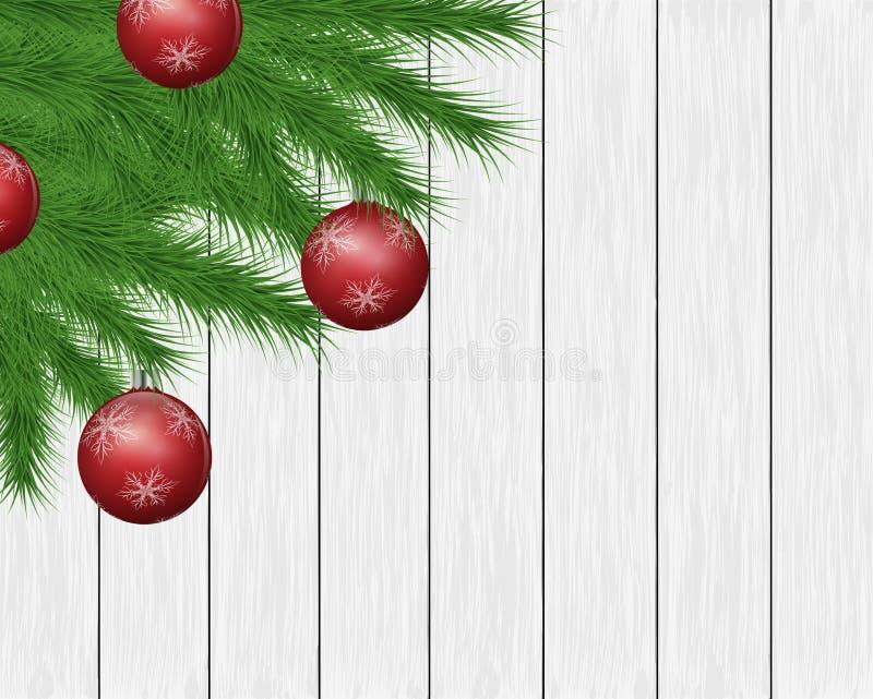De feestelijke achtergrond met pijnboom vertakt zich, de balornamenten van de Kerstmisboom op witte houten planken stock illustratie