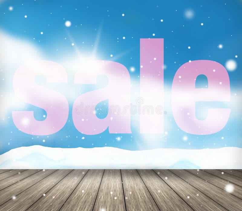 De feestelijke achtergrond van het de verkooplandschap van de sneeuwwinter stock illustratie