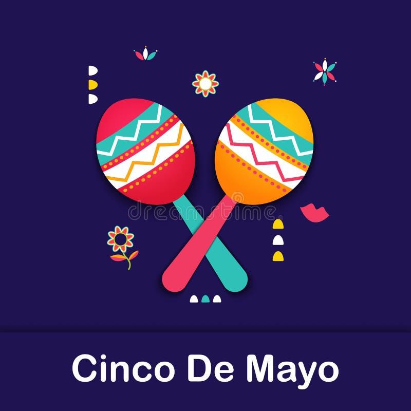 De feestelijke banner van Cinco de Mayo Mexican Affiche van het symboolmaracas van Mexico Cinco de Mayo-document de kaart van het royalty-vrije illustratie