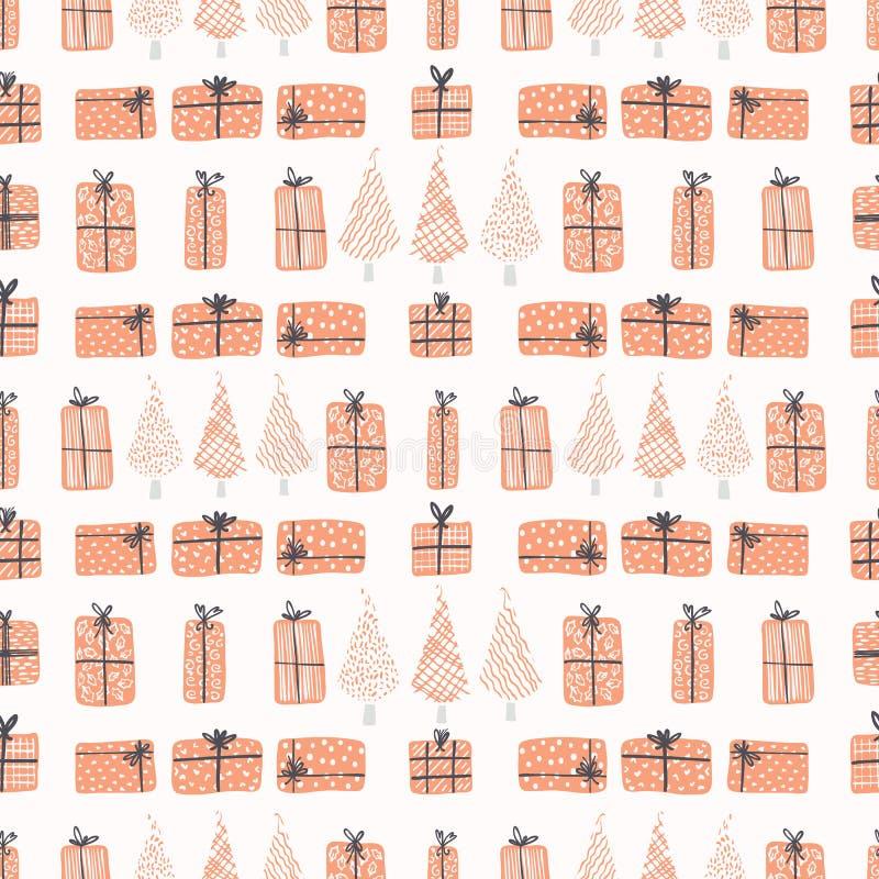 De feestelijke Dozen van de Kerstboomgift, vector illustratie