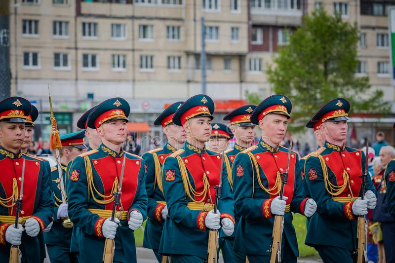 De feestelijke gebeurtenissen kunnen 8, 2019 in Nevsky-district van St. Petersburg, Rusland stock afbeelding