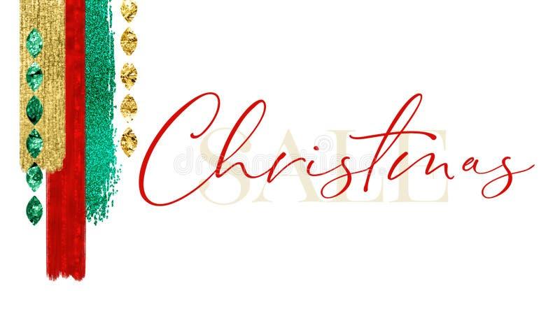 De feestelijke Jeweled-Kaart van de Kerstmisverkoop royalty-vrije illustratie