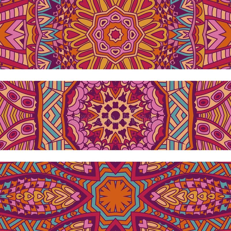 De feestelijke kleurrijke sier stammen etnische reeks van de de fantasie abstracte banner van Bohemen stock illustratie