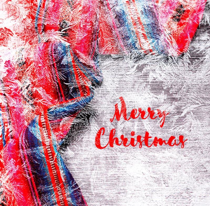 De feestelijke de winter panoramische achtergrond van de Kerstmisvakantie met helder veelkleurig tafelkleed in traditionele kleur stock foto's