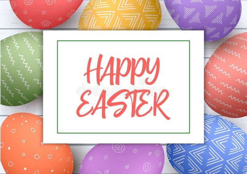 De feestelijke witte houten achtergrond van Pasen De kleurrijke eieren van Pasen met eenvoudige ornamenten Gelukkige Pasen Sluit  stock illustratie