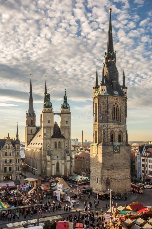 De fem tornen av Halle (Saale) royaltyfria foton