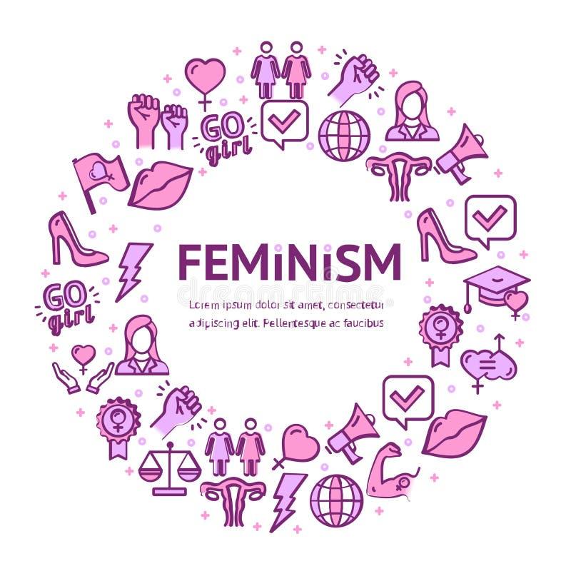 De feminismetekens om Ontwerpsjabloon verdunnen het Concept van het Lijnpictogram Vector vector illustratie