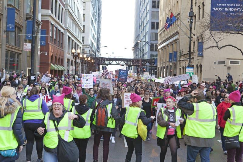 ` De femmes s mars sur Chicago 2017 photo libre de droits