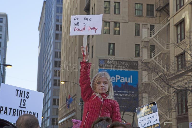 ` De femmes s mars sur Chicago 2017 photo stock