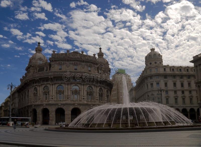 De Ferrari square. With fountain in Genova, Italy stock photography
