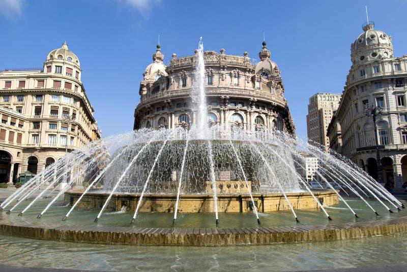 De Ferrari square, Genoa. Fountain in De Ferrari square in Genoa, Italy stock photography