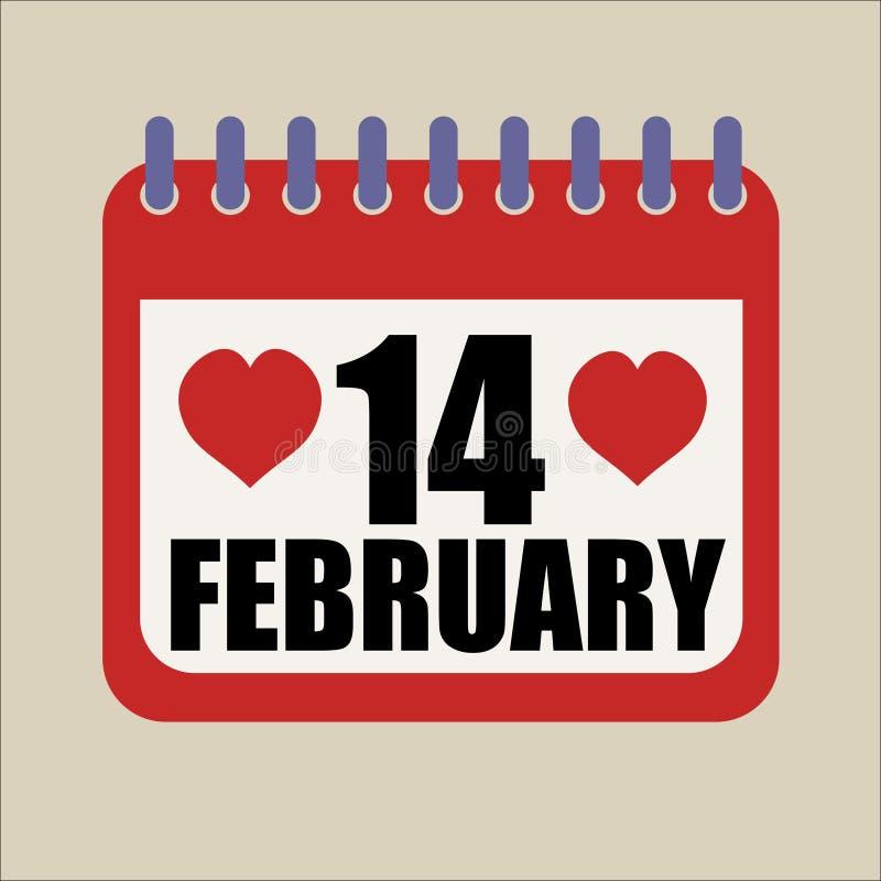 14 de fevereiro calendário feliz do dia de Valentim do coração ilustração do vetor