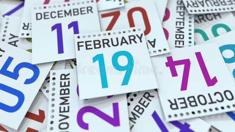 19 de fevereiro data na p?gina do calend?rio rendi??o 3d ilustração stock