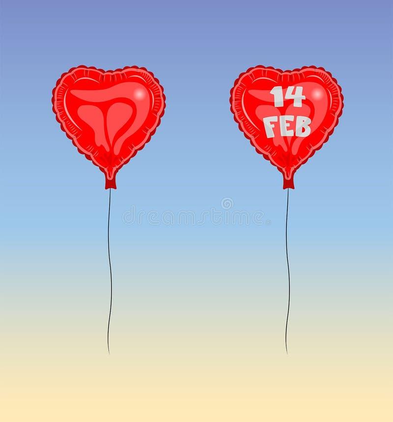 14 de fevereiro dia do ` s do Valentim do balão ilustração royalty free