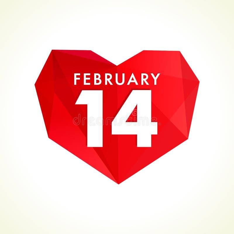14 de fevereiro logotype do coração do vitral dos Valentim ilustração royalty free
