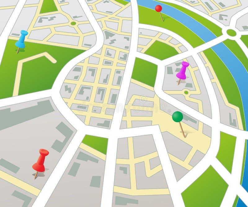 De fictieve Kaart van de Stad van het Perspectief stock illustratie