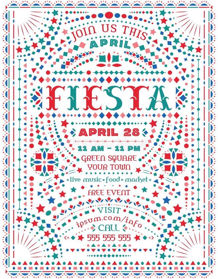 De fiestaviering kondigt affichemalplaatje met Mexicaanse nationale decoratieve elementen aan vector illustratie