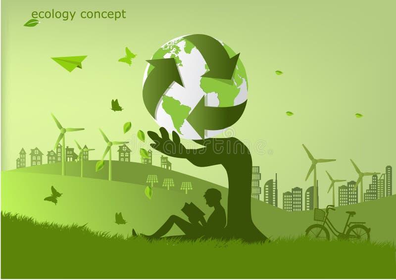 De fiets, de windmolen en de zonnepanelen op het gras, Milieuvriendelijke wereld Vectorillustratie van ecologie royalty-vrije stock foto