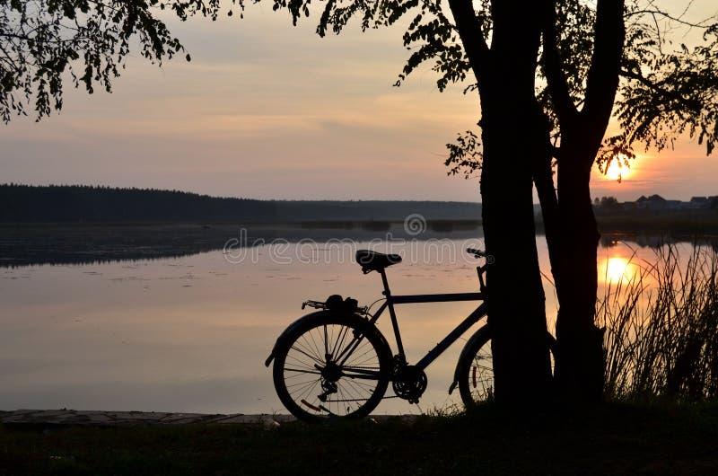 De fiets op het meer in de avond royalty-vrije stock afbeeldingen