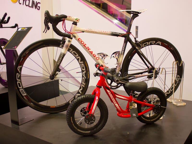 De fiets van de Colnagoweg en Hotwalk-fiets. stock foto's