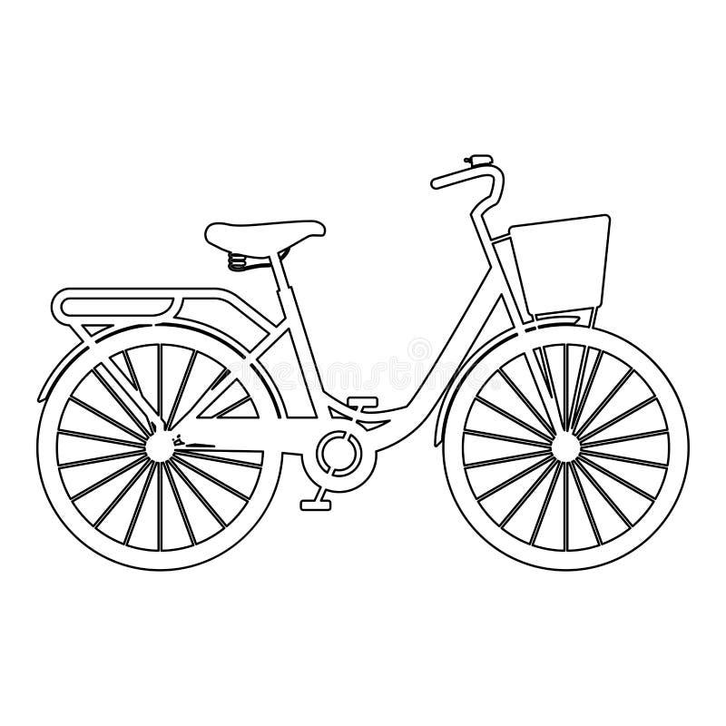 De fiets van de vrouw met van de het strandkruiser van mandvrouwen van de de fiets de Uitstekende fiets van de manddames van het  royalty-vrije illustratie