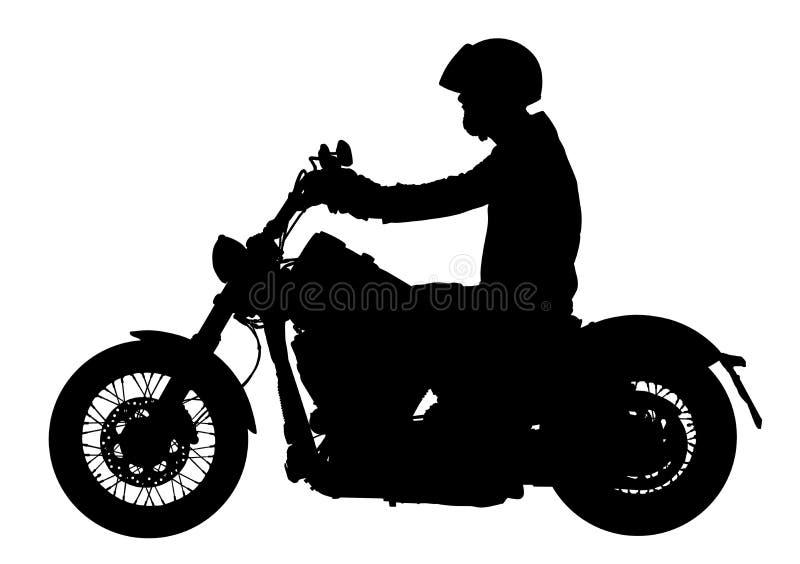 De fietser die een motorfiets drijven berijdt langs het vectorsilhouet van de asfaltweg vector illustratie