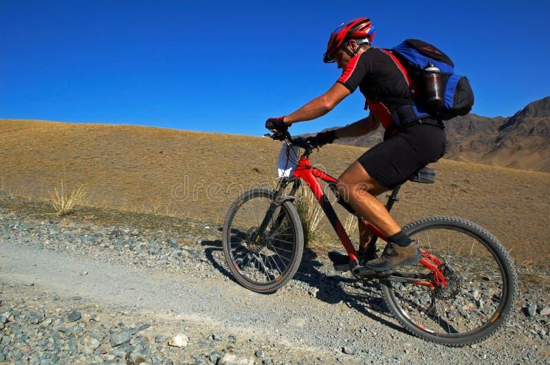 De fietser die van de berg in woestijn rent stock foto's