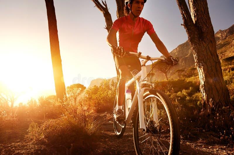 De fietsatleet van de berg stock afbeeldingen