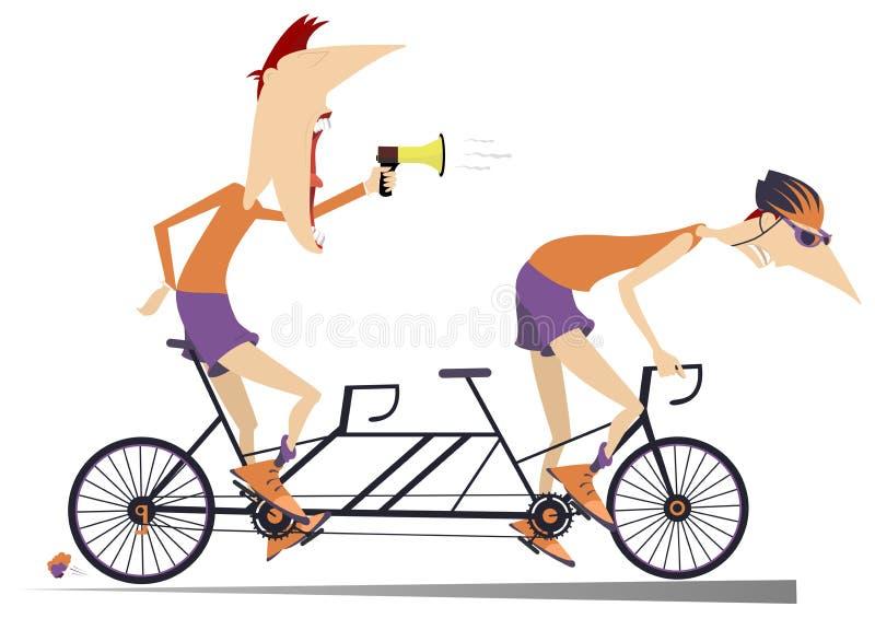 De fietser en de bus berijden een geïsoleerde fiets achter elkaar stock illustratie