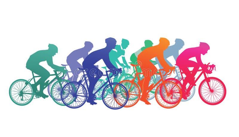 De fietsers in fiets rennen stock illustratie