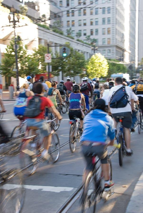De fietsers van de stad in San Francisco royalty-vrije stock foto's