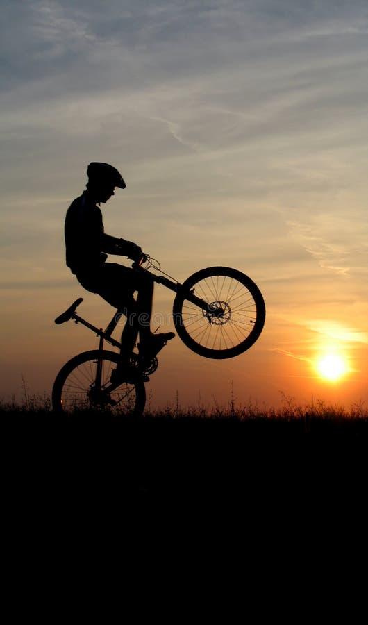 De fietsersilhouet van de berg royalty-vrije stock fotografie