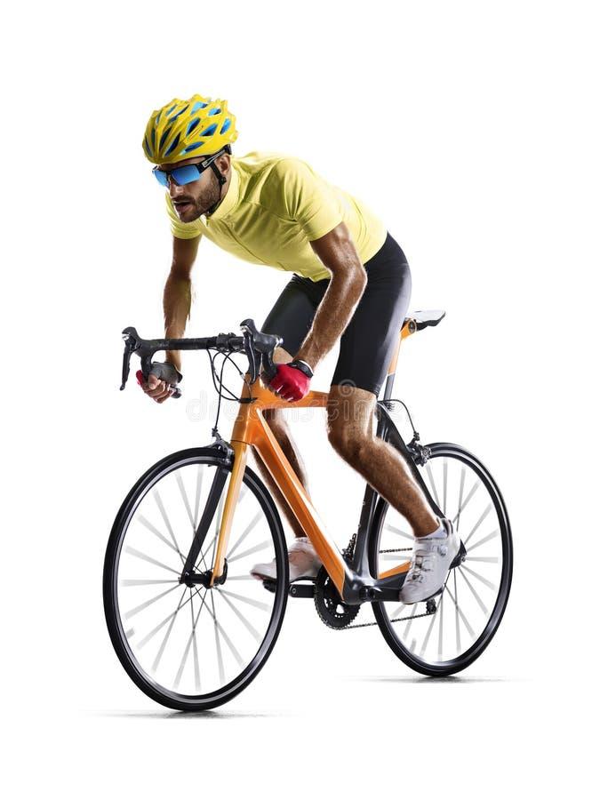 De fietsraceauto van de Professinalweg in motie op wit wordt geïsoleerd dat stock foto's