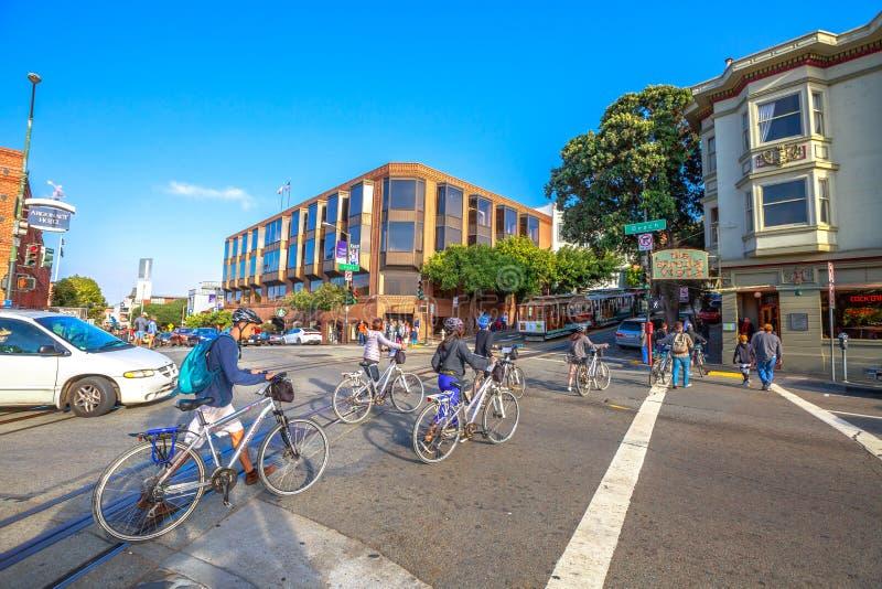 De fietsreis van San Francisco stock afbeeldingen