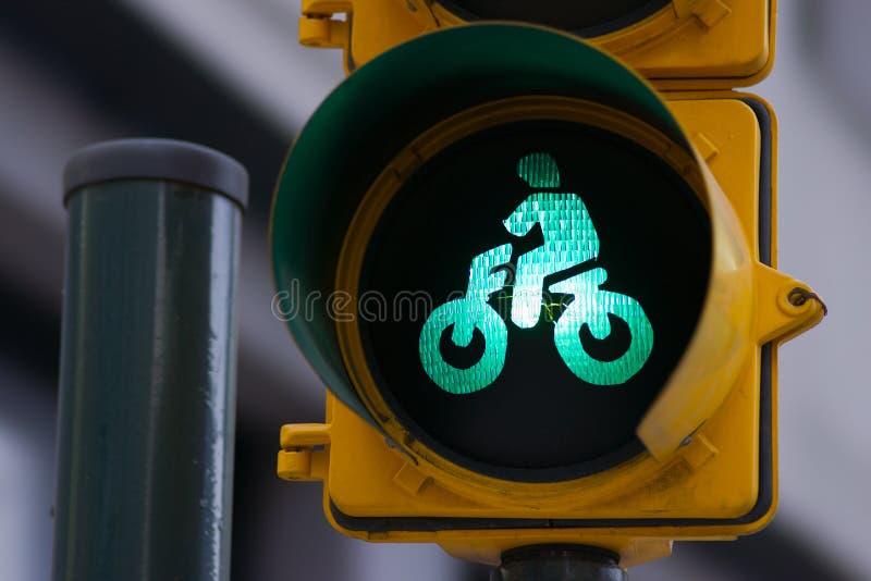 De fietsteken van het verkeerslicht stock afbeeldingen