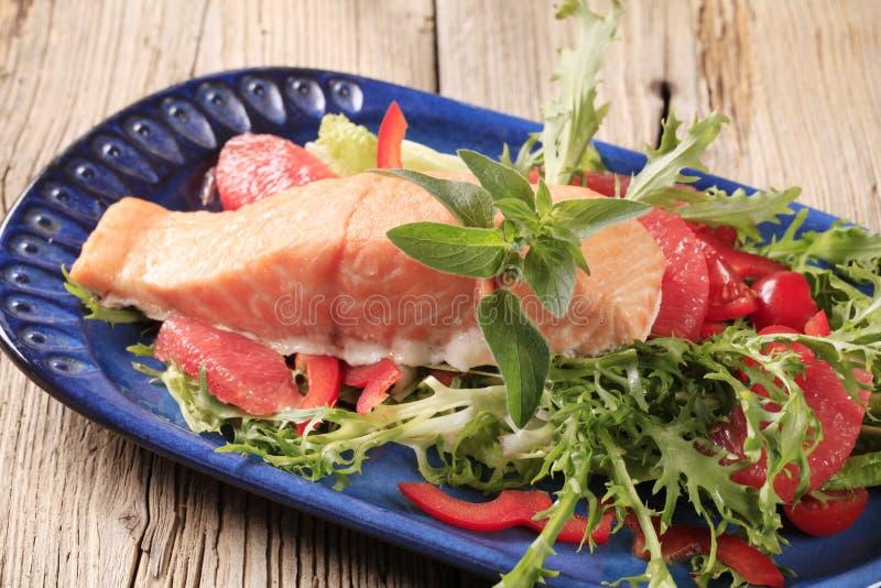 De filet van de zalm en verse salade stock foto's