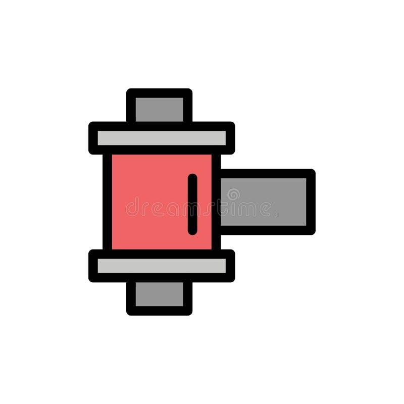 De film, Foto, windt Vlak Kleurenpictogram Het vectormalplaatje van de pictogrambanner stock illustratie