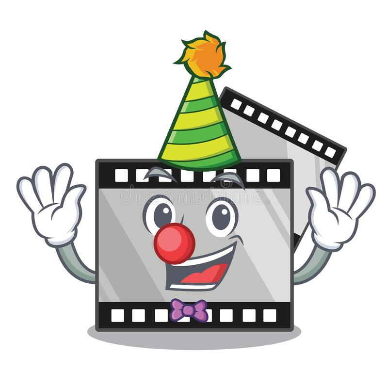 De film van de clownstreep boven houten beeldverhaallijst royalty-vrije illustratie