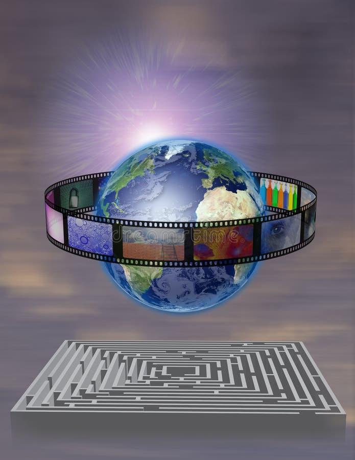 De Film van de wereld met Labyrint stock illustratie