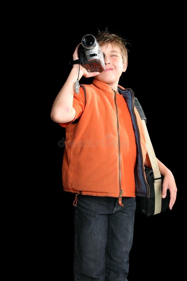 De film van het kind met digitale videocamera royalty-vrije stock afbeeldingen