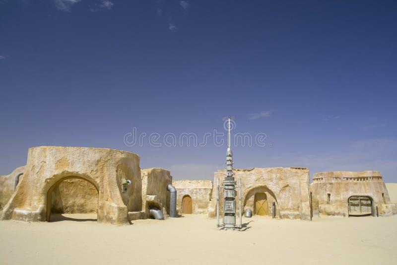 De film van Star Wars die van de Sahara, Tunesië wordt geplaatst royalty-vrije stock foto's