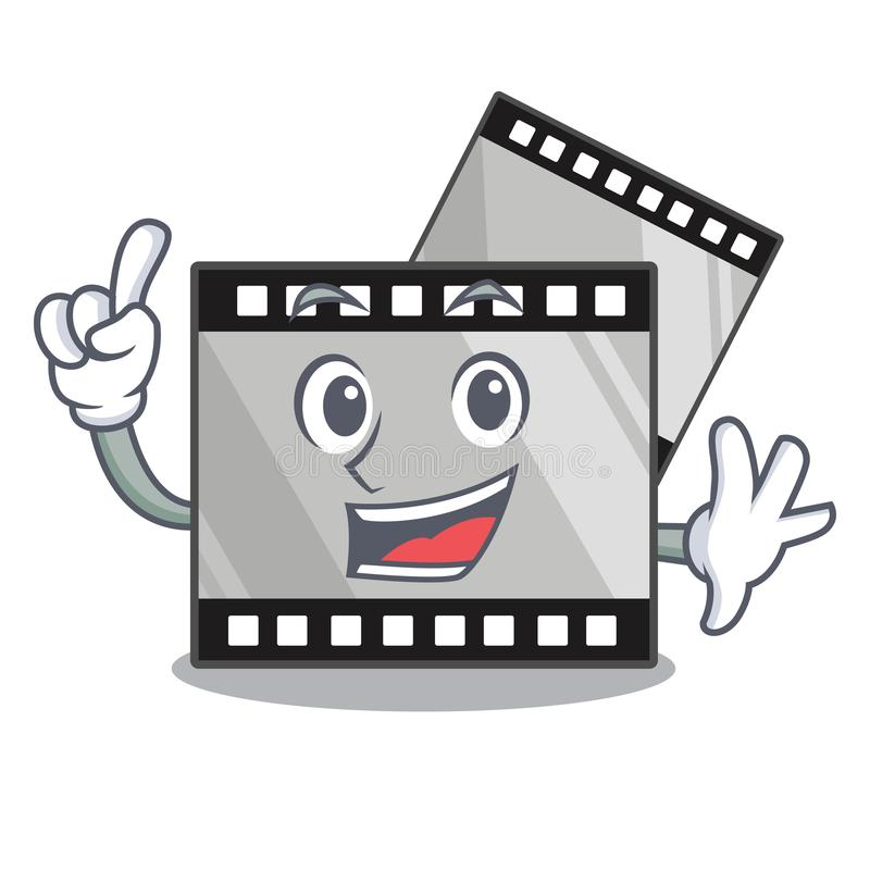 De film van de vingerstreep boven houten beeldverhaallijst vector illustratie