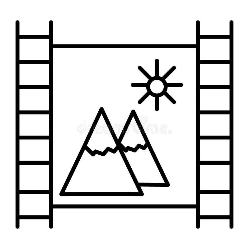 De filmstrook met bergen verdunt lijnpictogram Filmstrook met landschaps vectordieillustratie op wit wordt geïsoleerd Aard  royalty-vrije illustratie
