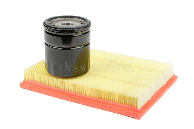 De filter van de olie en luchtfilter voor een auto stock foto