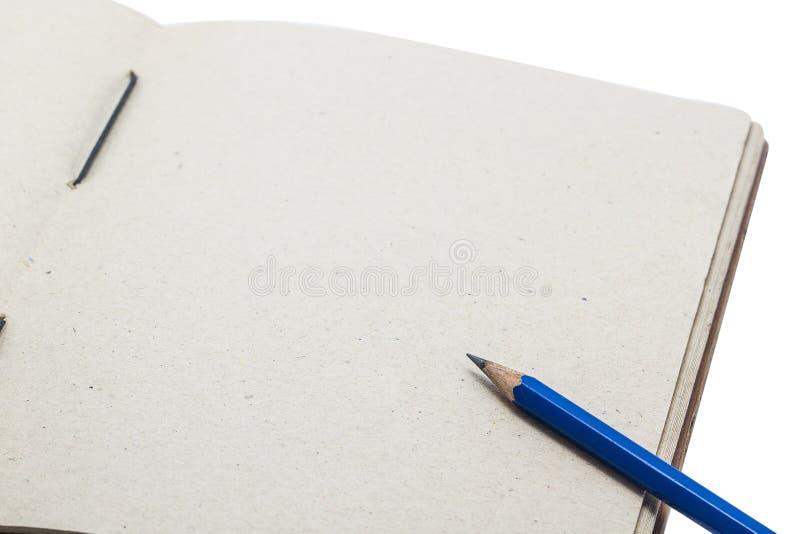 De fin livre fait main ouvert avec l'espace de crayon et de copie pour l'entrée images stock
