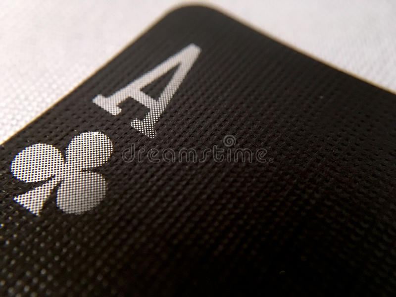 de fin/macro - carte jouante noire - Ace image stock